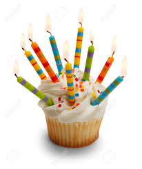 Cupcake with Lots of Candles Isolated on White Background Stock