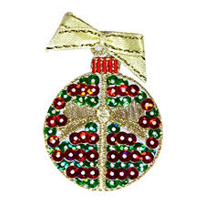ID 8211B Sequin Christmas Tree Ornament Patch Ball Bulb Iron On Applique