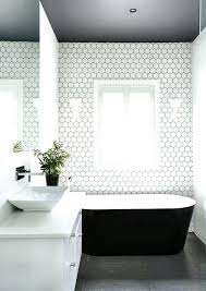 Grey Floor Tile Dark Floors A Ceiling And White Hex Tiles With Black Grout