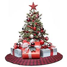 72 Inch Christmas Tree Skirts by Amazon Com Valery Madelyn 52 Inch Trendy Red And Black Tartan
