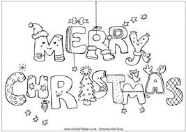 Merry Christmas Colouring Page With Activity Village Coloring Pages