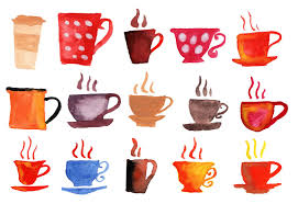 15 Watercolor Coffee Cups PNG Transparent