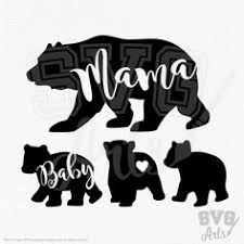 Mama Papa Bear With 3 Baby Designs Script