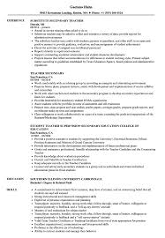 Download Secondary Teacher Resume Sample As Image File