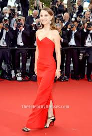 natalie portman red strapless formal dress cannes film festival