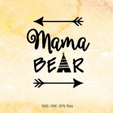 Mama Bear Svg Mothers Day Digital Design Cutting Files For Clipart Of Two Baby