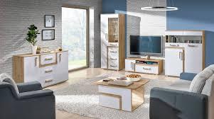 wohnzimmer komplett set e oskar 5 teilig farbe eiche hellbraun weiß