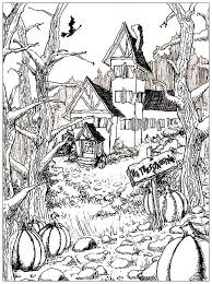 Haunted House To Print And Color With Big Pumpkins From The Gallery Events