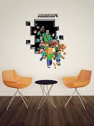 2015 New Minecraft Wall Stickers Creeper Enderman Wallpaper 3D Decorative Decals Rolls Party Decorations