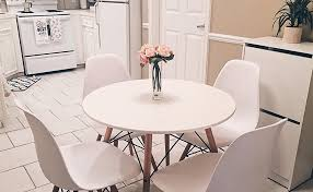 Coavas White Round Kitchen Dining Table