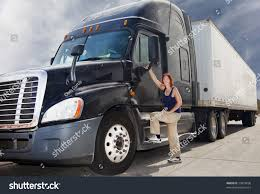 Woman Driver Wheel Her Commercial 18 Wheeler Stock Photo (Edit Now ...