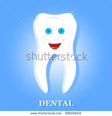 White Human Tooth With Down Laughing Face Blue Eyes Eyebrows And A Big Smile