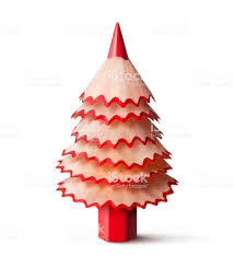 Christmas Tree Made With A Pencil And Its Wooden Shavings Royalty Free Stock Photo