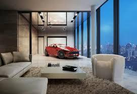 modernes apartement im hochgebäude mit garage für sportwagen