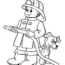 Fireman And Dog Coloring Pages