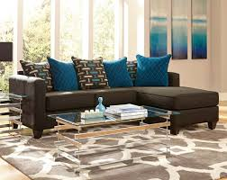 Modern Living Room Design with Blue Black Matching Sofa Pillows