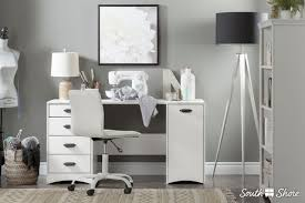 south shore artwork sewing craft table with storage white