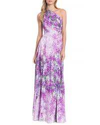 badgley mischka floral print one shoulder evening gown in purple