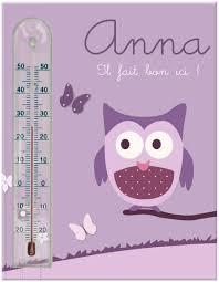 température chambre de bébé cadre thermomètre chouette et papillons