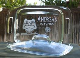 Wedding Gift Custom Etched Glass Personalized Baking Dish 2 Quart Pyrex Owl Flowers Kitchen From ScissorMill