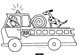 Fire Truck Fireman Dog Printable Coloring