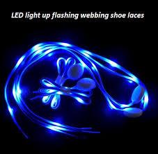 led multicolor light up flashing glowing luminous blinking nylon fabric webbing woven polyester shoe laces wholesale gif