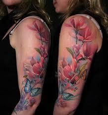 Butterflies Floral Sleeve Tattoo