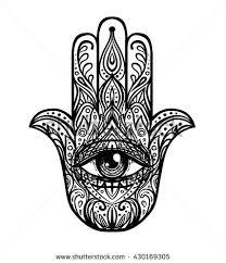 Blackwork Tattoo Flash Ornate Hand Drawn Hamsa Popular Arabic And Jewish Amulet Vector