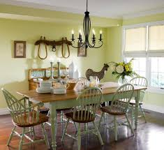 Appelaing Country Asian Inspired Dining Room Design Ideas With Railing Back Chairs Also Brown Laminate Wooden Floor And Vintage Table Complete