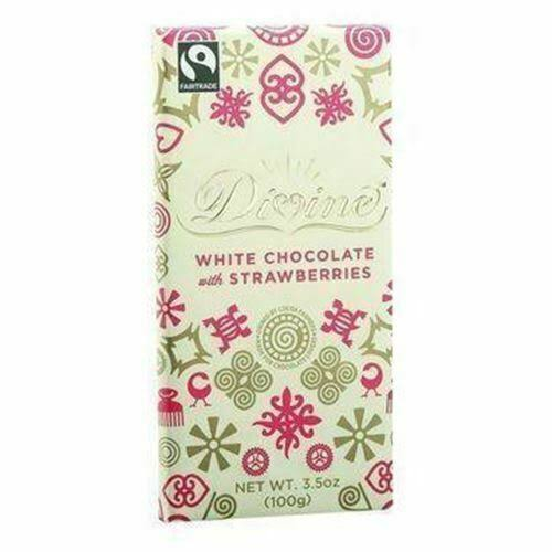 Divine Bar White Chocolate - with Strawberry, 3oz