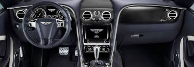 Leather interior of the front console inside the Continental GT Speed Convertible