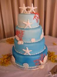 Beach Wedding Cake Seashell20Blue20Wedding20Cake