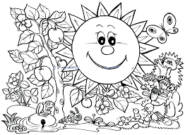 Childrens Spring Coloring Pages Free Fun Page Colouring First Day Of 2015 Full Size