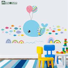 stickers pour chambre d enfant maruoxuan baleine de bande dessinée vinyle wall sticker pour