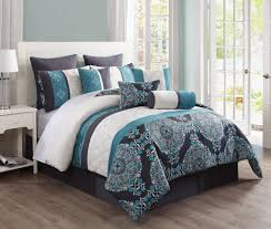 Echo Jaipur Bedding by 14 Piece Queen Justine Charcoal And Teal Reversible Bed In A Bag W