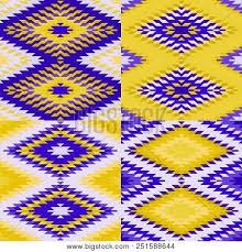 Seamless Pattern Turkish Carpet Yellow Ultraviolet Purple Colorful Patchwork Mosaic Oriental Kilim