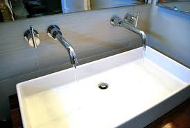Trough Bathroom Sink With Two Faucets Canada by Bathroom White Trough Sink For Bathroom With Two Wall Mounted
