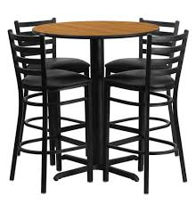 30in Round Bar Height Natural Laminate Dining Table Set With 4 Stool Chairs OF1HDBF1023