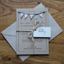 Unique Design With Real Fabric Bunting Simpler Printed Wedding Invitations Also Available