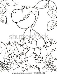 Coloring Page Outline Of Cartoon Dinosaur Tyrannosaur Vector Illustration Book For Kids