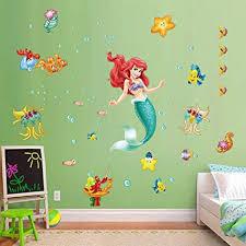 decalmile wandtattoo die kleine meerjungfrau ariel wandsticker unterwasserwelt prinzessin kinderzimmer mädchen wandaufkleber babyzimmer schlafzimmer