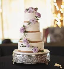 Love The Natural Look Of Trailing Florals And Tan Ribbon Border Fluted Buttercream Rustic Wedding CakesFlutesFloralsRibbonFood