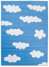 teppich kurzflor blau weiß modern wolken design kinderzimmer jugendzimmer wohnzimmer schlafzimmer spielteppich ökotex