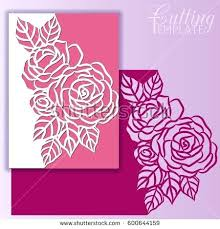 Paper Cut Template Christmas Greeting Card With Lace Border Pattern Of Roses Out For Cutting
