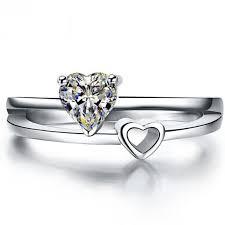 2018 0 5ct Heart Shape Synthetic Diamond Ring Engagement Wedding