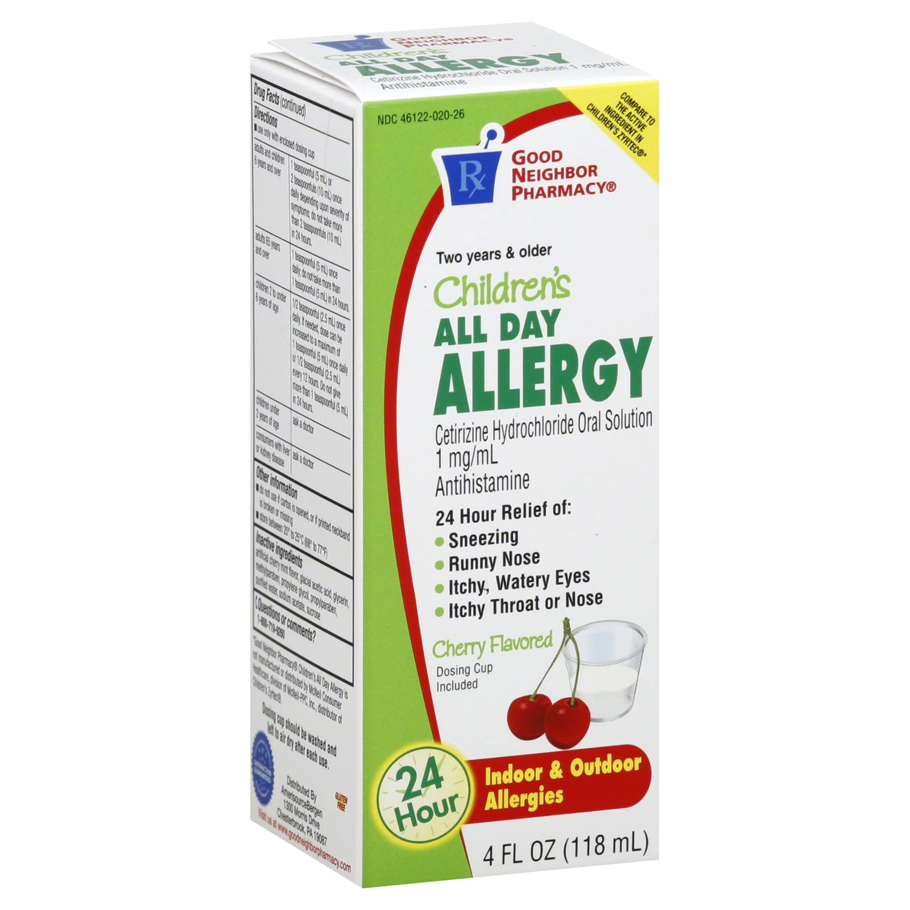Good Neighbor Pharmacy All Day Allergy, Children's, 1 mg, Cherry Flavored - 4 fl oz