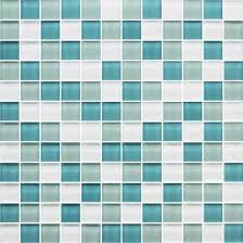 American Olean Porcelain Mosaic Tile by American Olean Color Appeal Glass Blends C128 Sea Pearl Blend