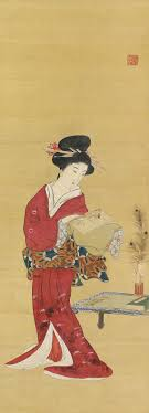 Bijin A Beautiful Woman In Kimono Japanese Hanging Scroll Painting ArtistsAncient ArtPainting