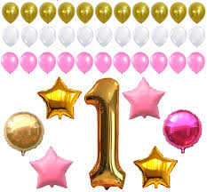 amazon com first birthday decoration pink white gold balloons