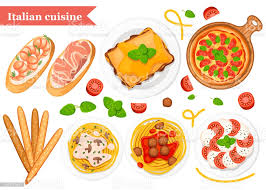 italienische küche pizza spaghetti risotto bruschetta und grissini klassische italienische speisen auf tellern und holzplanke flache